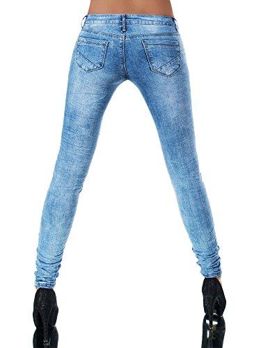 L851 Damen Jeans Hose Hüfthose Damenjeans Hüftjeans Röhrenjeans Röhrenhose Röhre, Größen:36 (S), Farben:Lichtblau -