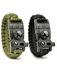 AVENDU 7-in-1 Paracord Survival Armband mit Multitool + Feuerstahl + Kompass + Signalpfeife + Minimesser + Thermometer