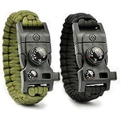 Avendu Unisex Adult 7-in-1 Paracord Survival Armband mit Multitool + Feuerstahl + Kompass + Signalpfeife + Minimesser + Thermometer, schwarz, 232.5