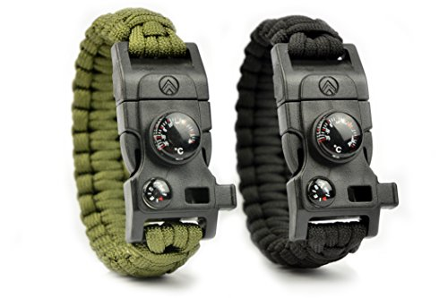 AVENDU 7-in-1 Paracord Survival Armband mit Multitool + Feuerstahl + Kompass + Signalpfeife + Minimesser + Thermometer (oliv) (Lang Stich Kit)