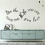 JXNY Love The Life Cita Tatuajes de Pared Hogar Romántico Dormitorio Decoración Infinito Diseño de Pared de Vinilo Poster Nursery Wall Art Mural 102x42 cm