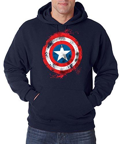 TRVPPY Herren Hoodie Kapuzenpullover Modell Captain America Brushed, Navyblau, ()