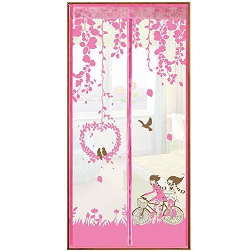 Magnet Fliegengitter Tür Klettverschluss Anti-Mücke TürVorhang Lautlos Fliegender Bildschirm-Bildschirmtor-90x200Cm(35x79Zoll)-Pink