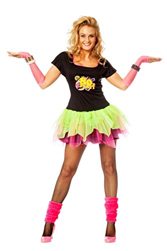 80er Jahre Out-Fit Neon 80er Kleid Partykleid + -
