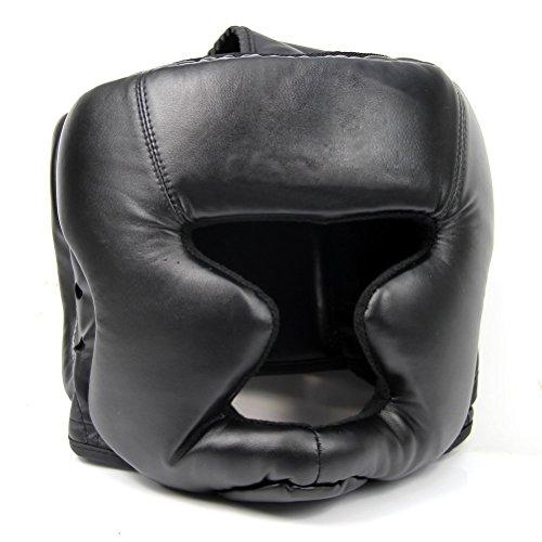 SODIAL(R) Schwarze gute Kopfbedeckung Kopfschutz Trainingshelm Kickboxen Schutzausruestung