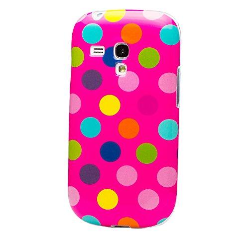 iCues Schutzhülle für Samsung Galaxy S3 MINI   Polka Dots TPU Case Pink / Bunt   [Display Schutzfolie Inklusive] Damen Frauen Mädchen Silikon Gel Motiv Muster Hülle Cover Schutz