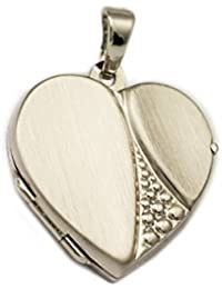 ASS 925 corazón plateado-en forma de lámpara de techo de fotos con camafeo plateado mate chapado en rodio en relieve