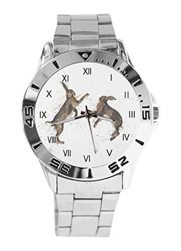 Bungee Jumping Bunnies Custom Design Analog Armbanduhr Quarz Silber Zifferblatt Klassisch Edelstahl Band Damen Herren Armbanduhr