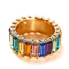 Idea Regalo - Caingmo, Anello a Fascia, impilabile, con Cristalli Arcobaleno e zirconi cubici