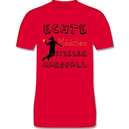 Handball - Echte Mädchen Spielen Handball verspielt - Herren Premium T-Shirt Rot