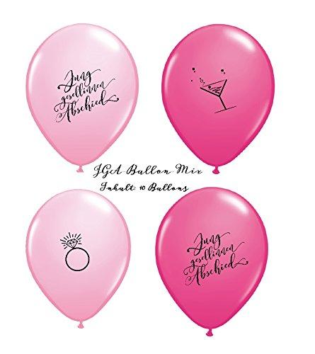Luftballons JGA Mix rosa pink Junggesellinnenabschied 10er-Set