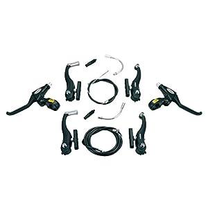 Juego completo ALHONGA de 2x Manetas + 2x Frenos + Cables y Fundas V Brake Alhonga para Bicicleta COLOR Negro 3030ng