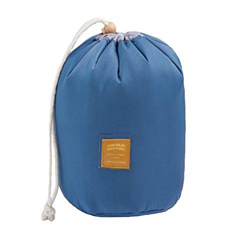 YSBER zylindrische Art kosmetische Tasche Drawstring Geräumige Make up Aufbewahrungsbeutel Tragbare High Capacity Kosmetiktasche(Dary Blue) (Kapitän Mesh)