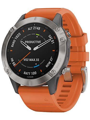 Garmin Fenix 6 Sapphire Titanium Multisport GPS Smartwatch Grey/Silver/orange Wristband 2020 Pulsmessgerät