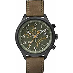 Timex Special Intelligent Quartz Flyback Chronograph Men's Quartz Watch with Green Dial Analogue Display and Green Leather Strap T2P381