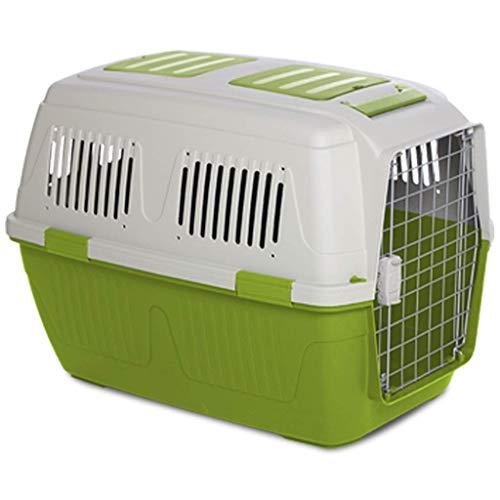 Scatola da trasporto for animali domestici con supporto for ruote extra large for trasporto cane gatto fuori stuoia di sicurezza con serratura for viaggio ( Color : Green , Size : S )
