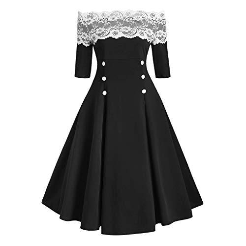 BOLANQ Sexy One-Shoulder-Kleid Weihnachten Langarm Kleid, Spitze Knopf Slim Fit A-Line Rock Ärmel Plissee Abendkleid(Small,Schwarz)