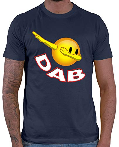 HARIZ  Herren T-Shirt Smiley Dab Dab Dabbing Trend Weihnachten Plus Geschenkarte Navy Blau XS