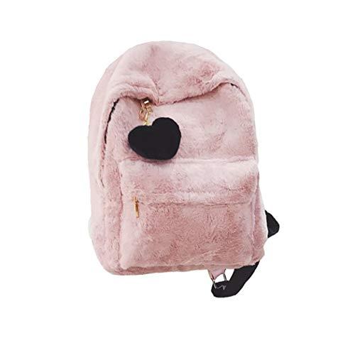 Süßes Mädchen Liebe Plüsch Rucksack Niedlichen Anhänger Rucksack (rosa)