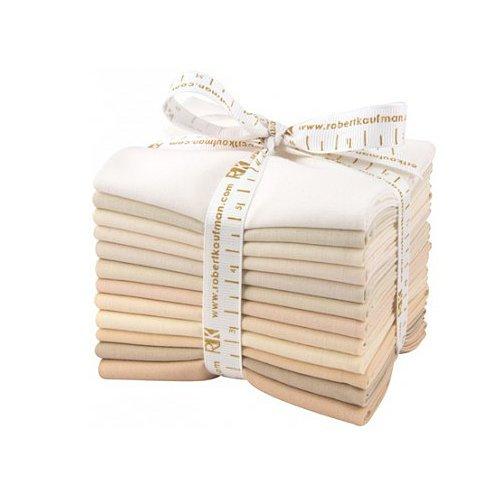 Robert Kaufman Kona Baumwolle Feststoffe nicht ganz weiß Fat Quarter Bundle 12vorgeschnittenen Baumwolle Stoff Quilting FQS Sortiment fq-909-12 -