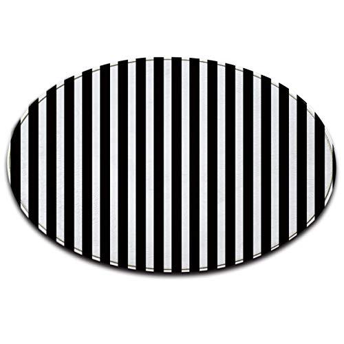 Schwarz Und Weiß Moderne Teppich (LB modern Streifen schwarz weiß rutschfest maschinenwaschbar runde Fläche Teppich Wohnzimmer Schlafzimmer Badezimmer Küche weich Teppich Bodenmatte Inneneinrichtungen 100x100 cm)