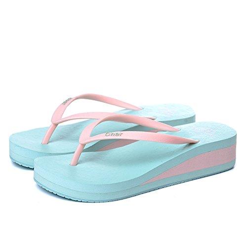 Estate Sandali Flop-slippamento antiscivolo flopLadies moda estate estivo Donna Flop-slippamento antiscivolo Nero Verde rosa Viola Blu scuro Blu chiaro Colore / formato facoltativo Azzurro