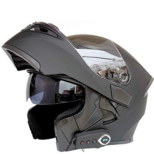 Schutzkleidung Erwachsene Bluetooth Motorradhelm Doppelobjektiv Anti-Fog Motorradhelme Motocross Helm mit FM Off-Road-Moto-Helmen