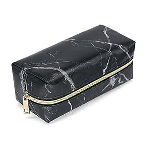 Todaytop Kosmetiktasche aus Marmor-Muster, rechteckig, tragbar, PU-Leder, mit Reißverschluss, für Make-up-Pinsel, Kosmetiktasche, Reisetasche