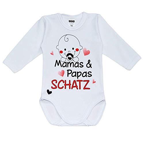 MEA BABY Unisex Baby Langarm Body mit Spruch Mamas & Papas Schatz, 100% Baumwolle, Baby Body weiß für Mädchen, Baby Body Weiss für Jungen. (74)