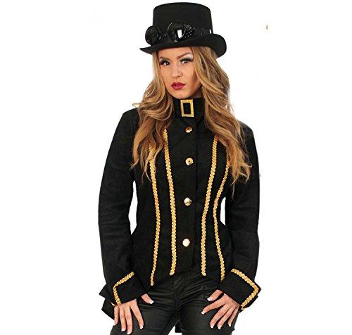 KarnevalsTeufel Damenkostüm-Set Scarletta, 3-teilig Jacke, Zylinder und Brille | Größe 36 - 42 | Renaissance, Barock, Piratin, Steampunk (40) (Renaissance Dieb Kostüm)