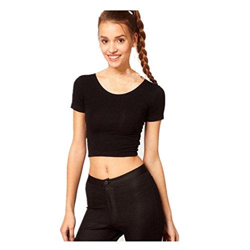 TWIFER Sommer Kurzarm Damen Basic Tees Crop Tops T-Shirt Bluse (Freie Größe, Schwarz)