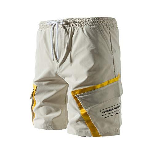 Cargo Shorts Herren Chino Kurze Hose Sommer Bermuda Sport Jogging Training Stretch Shorts Fitness Vintage Regular Fit Sweatpants Baumwolle Qmber lockere einfarbige Knopfleiste Khaki Grün(Beige,3XL) (Teenager-mädchen Coole Für Sweatpants)
