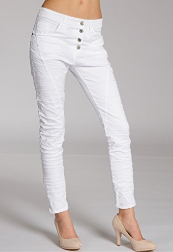 CASPAR - pantaloni boyfriend da donna, KHS014 White (vintage)