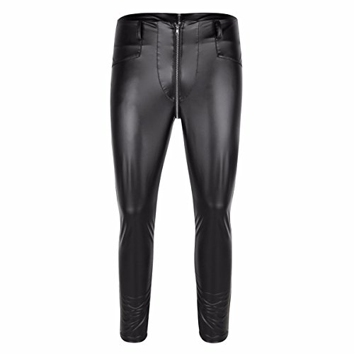 FEESHOW Herren Wetlook Zip Pantyhose Lederoptik Tights Leggings Pants Hose Clubwear Schwarz Schwarz M