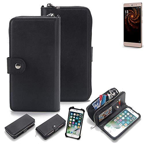 K-S-Trade 2in1 Handyhülle für Allview X3 Soul Style Schutzhülle & Portemonnee Schutzhülle Tasche Handytasche Case Etui Geldbörse Wallet Bookstyle Hülle schwarz (1x)