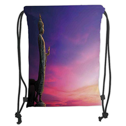 Fashion Printed Drawstring Backpacks Bags,Asian Decor,Standing Statue on Fairy Sunset Famous Ancient Asian Heritage Picture Canvas Decor,Multi Soft Satin,5 Liter Capacity,Adjustable String Closure