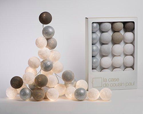 Guirlande lumineuse Reykjavik avec 20 boules, la case de Cousin Paul Fairy Lights, Cotton Balle Lumière Boules