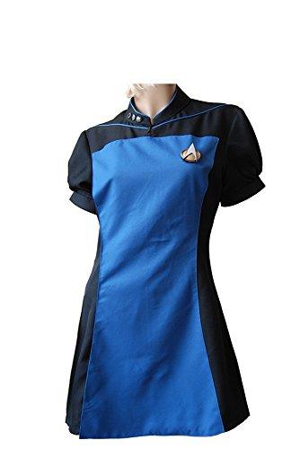 Fuman Star Trek TNG Weibliche Dienst Uniform Cospaly Kostüm Blau (Kostüme Trek Star Weiblich)