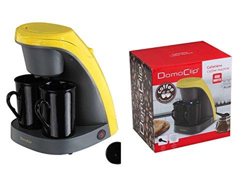 Machine à café avec 2Mugs en céramique (de 1tasses de bureau machine à café, tasse, 2tasses machine à café, Noir + Jaune)