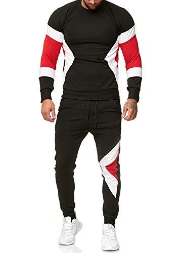 OneRedox | Herren Trainingsanzug | Jogginganzug | Sportanzug | Jogging Anzug | Hoodie-Sporthose | Jogging-Anzug | Trainings-Anzug | Jogging-Hose | Modell 1215 Schwarz S