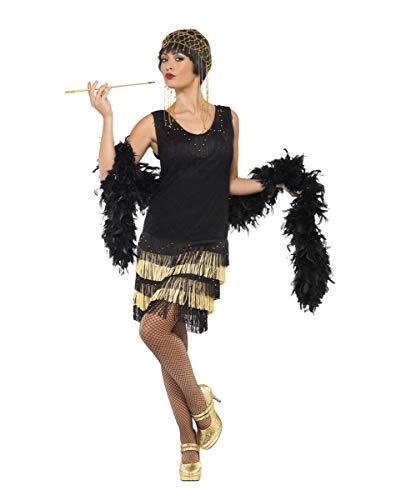 Cabaret S 1920 Kostüm - Horror-Shop 1920er Jahre Flapper Damen Kostüm mit schwarz-goldenen Fransen S