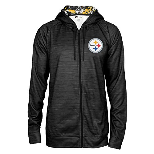Zubaz NFL Male Kapuzenpullover mit durchgehendem Reißverschluss, Camouflagemuster, Herren, NFL Full Zip Camo Space Dye Hoodie, schwarz, Large -