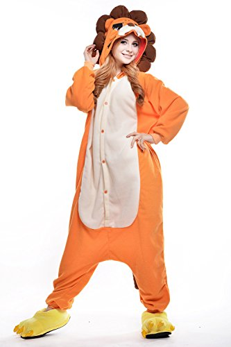 dressfan Unisex Adult Kinder Tier Pajamas Lion Cosplay Kostüm (Lion Damen Kostüme)
