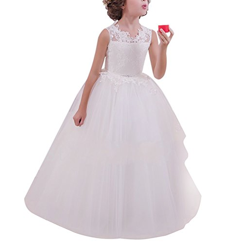n Kleid Hochzeit mit Appliques Mädchen Lace Up Tüll Festzug Abendkleid Brautjungfer Erste Kommunikation Kleider Karneval Festzug Cocktailkleid Partyskleid Fotografie ()