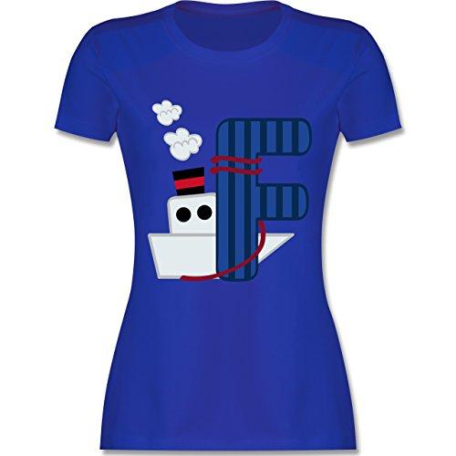 Anfangsbuchstaben - F Schifffahrt - tailliertes Premium T-Shirt mit Rundhalsausschnitt für Damen Royalblau