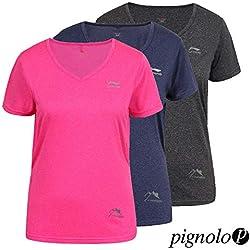 Funktions-T-Shirt LI-NING Frauen Slim-Fit. Viele Farben erhältlich. Für Sport. Arbeit. Wandern und Freizeit. Sondermodell Lisa, Farbe:Black, Größe:S