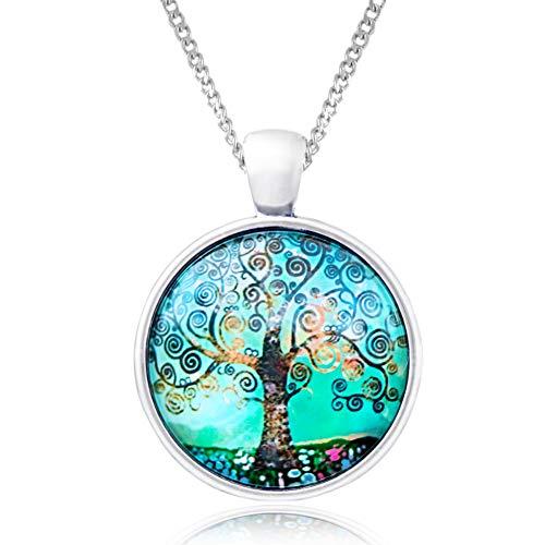 Klimisy - Lebensbaum Kette mit Anhänger aus Glas - Buy one & Plant one Tree - Hochwertige Halskette mit Baum des Lebens Medaillon im Opal-Grün - Eco & Fair