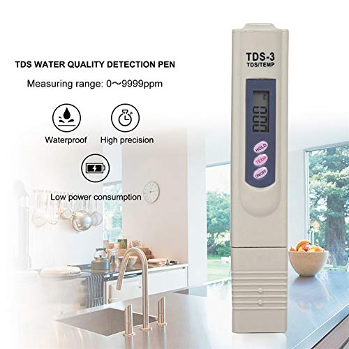 CRZJ Wasserqualitätstester, 0-9990 ppm Messbereich, 1 ppm Auflösung, 2%, Anzeigegenauigkeit, für Trinkwasser, Hydrokultur, Schwimmbäder, Aquarien -