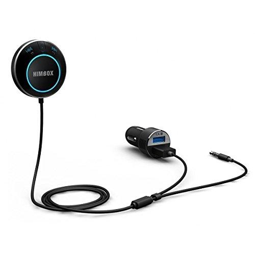 iClever Himbox HB01 Plus Auto Bluetooth 4.0 Transmitter mit Freisprechfunktion Magnethalter (AUX 3,5 mm, Siri / Sprachaktiviert, 3 USB Ports) für iPhone, Samsung und andere Smartphones, Schwarz
