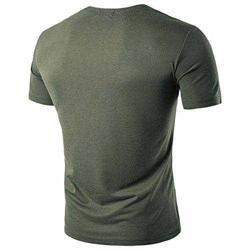 I nuovi uomini di estate uomini disegnano irregolarmente la maglietta o la parte superiore del collo delle maniche corte del Hip Hop di disegno di disegno Armyverde